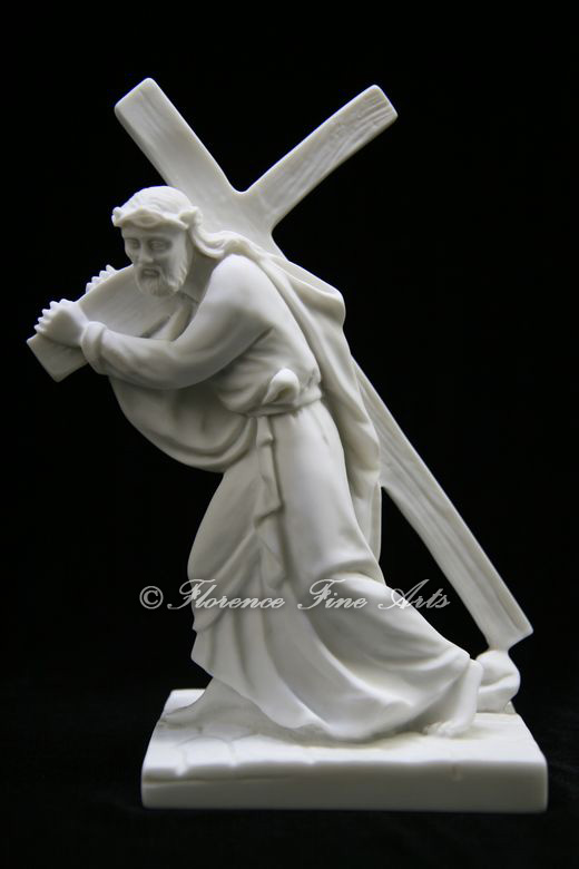 Jesus Christ Carring the Cross Italian Statue Sculpture ...