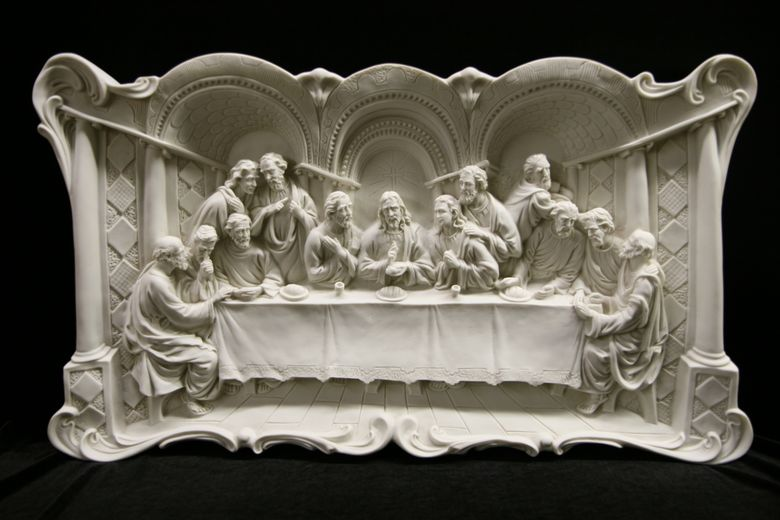 The Last Supper Wall Plate Plaque Catholic Statue Made In Italy 29 Wide Ebay